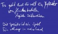 Geflüster Text Faksimile blau KONSTRAST